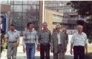 На фоне столовой (ветраж ровестник нашей службы) Гузанов, Слепченко, Дрягин, Тулунжа, Максимов